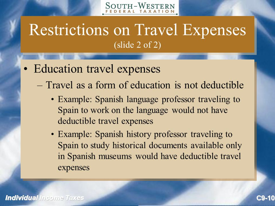Restrictions on Travel Expenses (slide 2 of 2)
