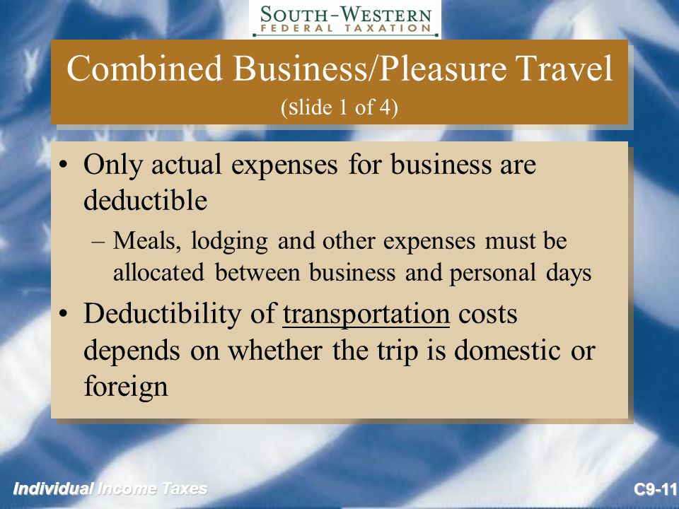Combined Business/Pleasure Travel (slide 1 of 4)