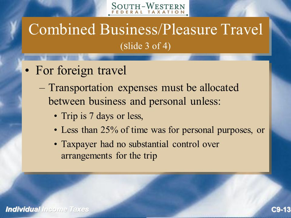 Combined Business/Pleasure Travel (slide 3 of 4)