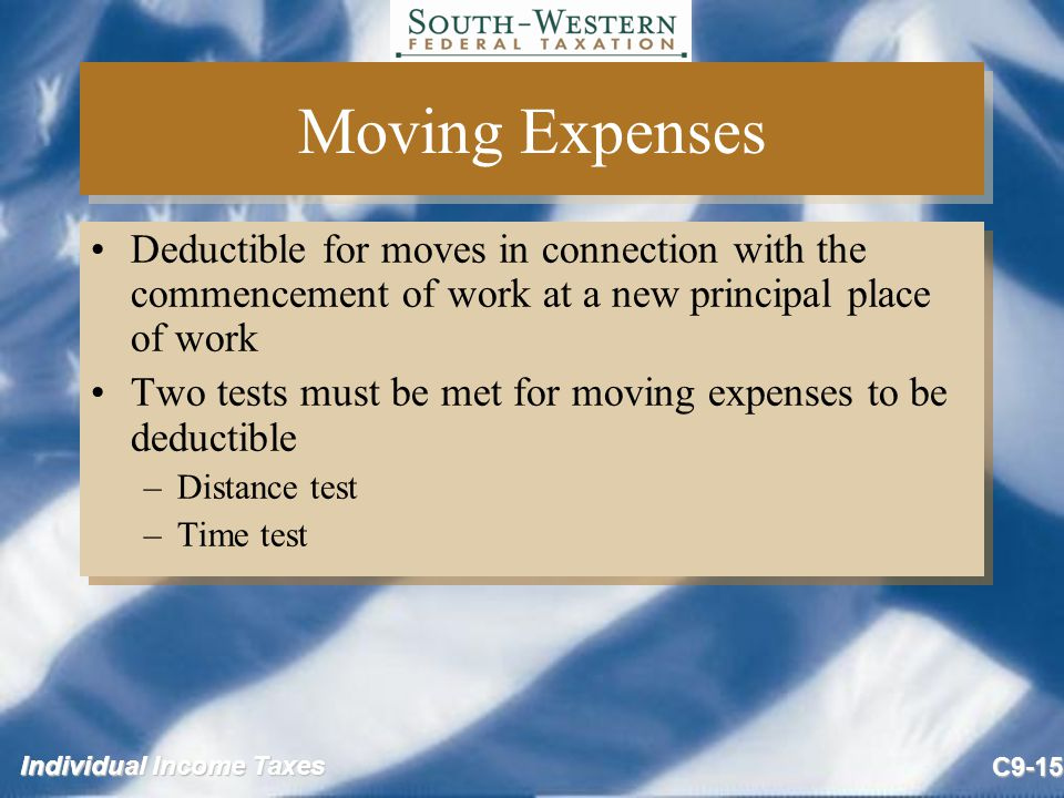 Moving Expenses Deductible for moves in connection with the commencement of work at a new principal place of work.