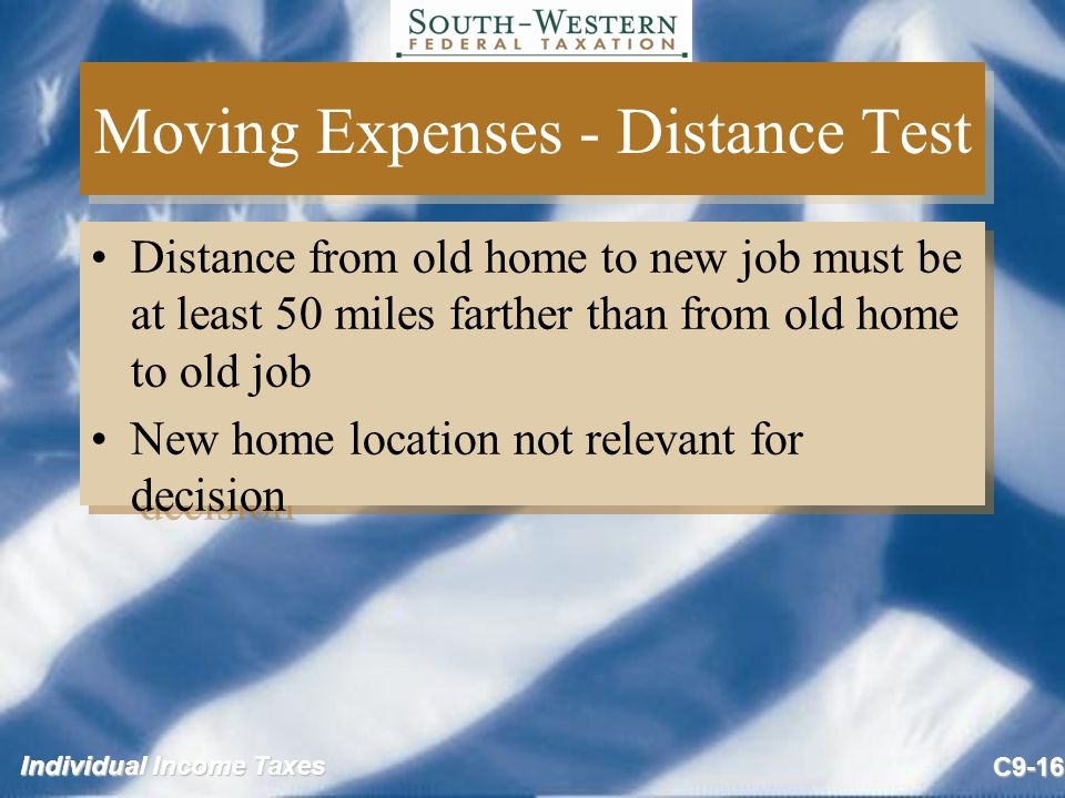 Moving Expenses - Distance Test