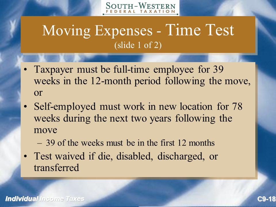 Moving Expenses - Time Test (slide 1 of 2)