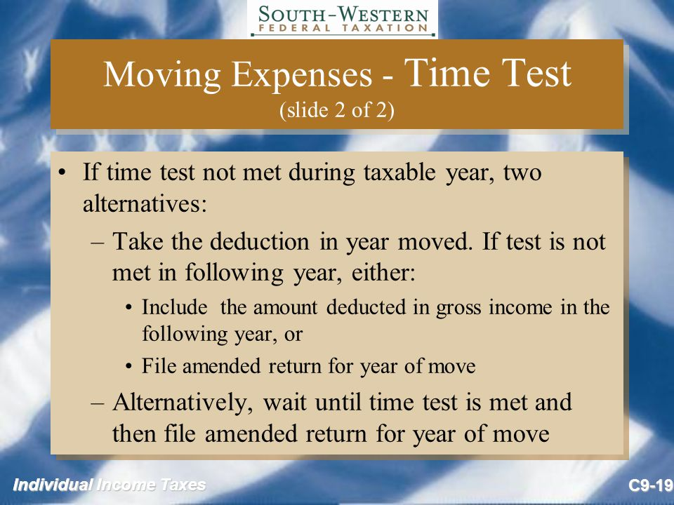 Moving Expenses - Time Test (slide 2 of 2)