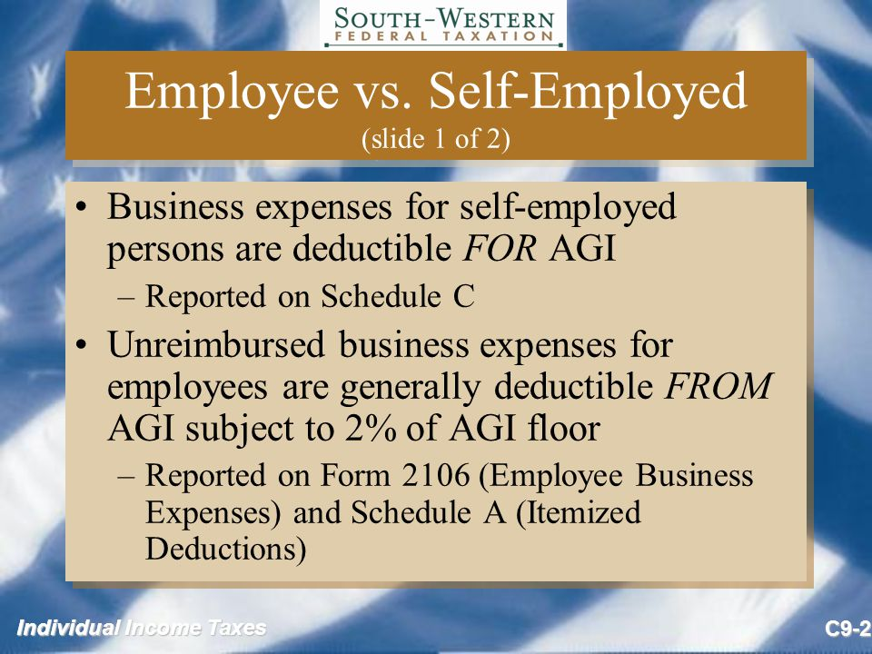 Employee vs. Self-Employed (slide 1 of 2)