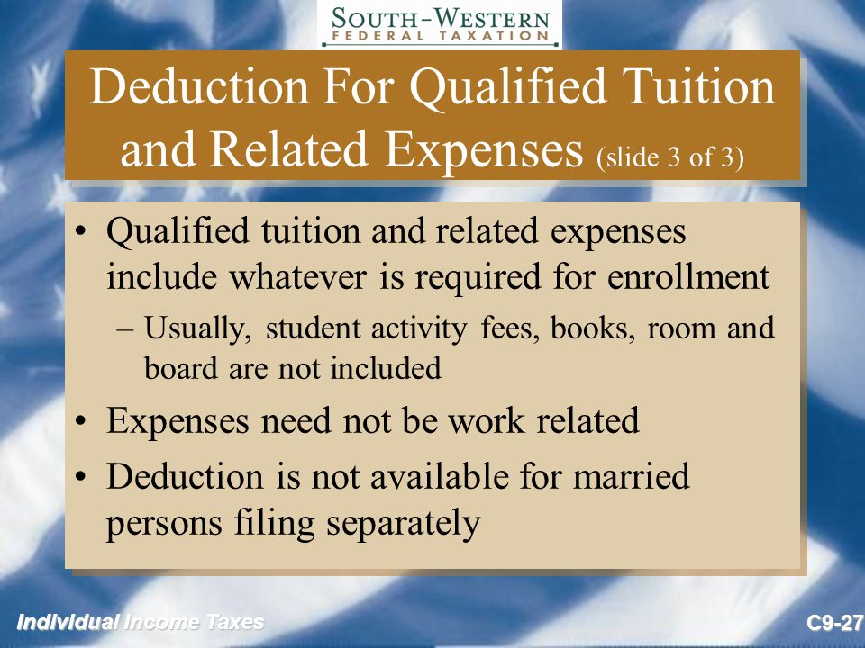 Deduction For Qualified Tuition and Related Expenses (slide 3 of 3)