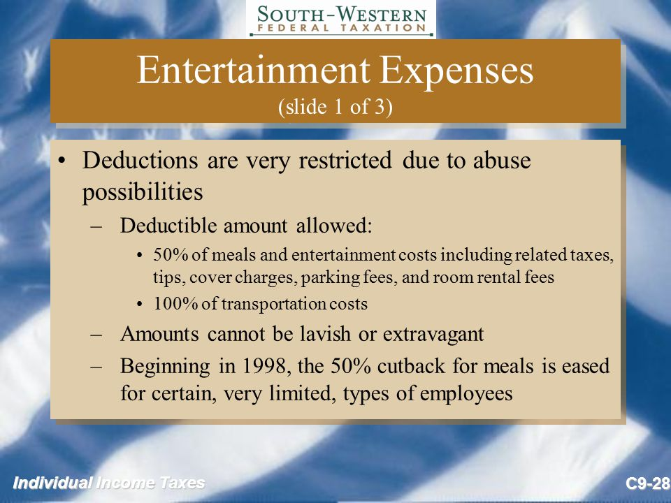 Entertainment Expenses (slide 1 of 3)