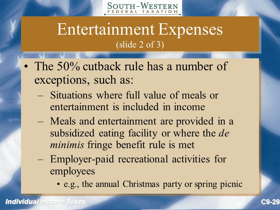 Entertainment Expenses (slide 2 of 3)