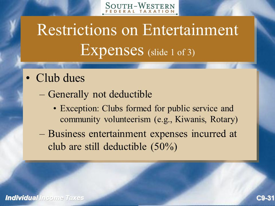 Restrictions on Entertainment Expenses (slide 1 of 3)