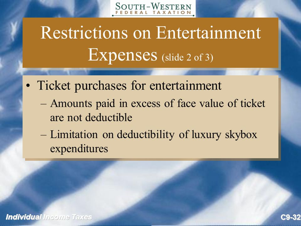 Restrictions on Entertainment Expenses (slide 2 of 3)