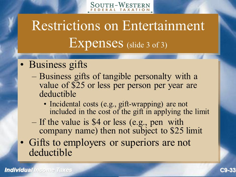 Restrictions on Entertainment Expenses (slide 3 of 3)