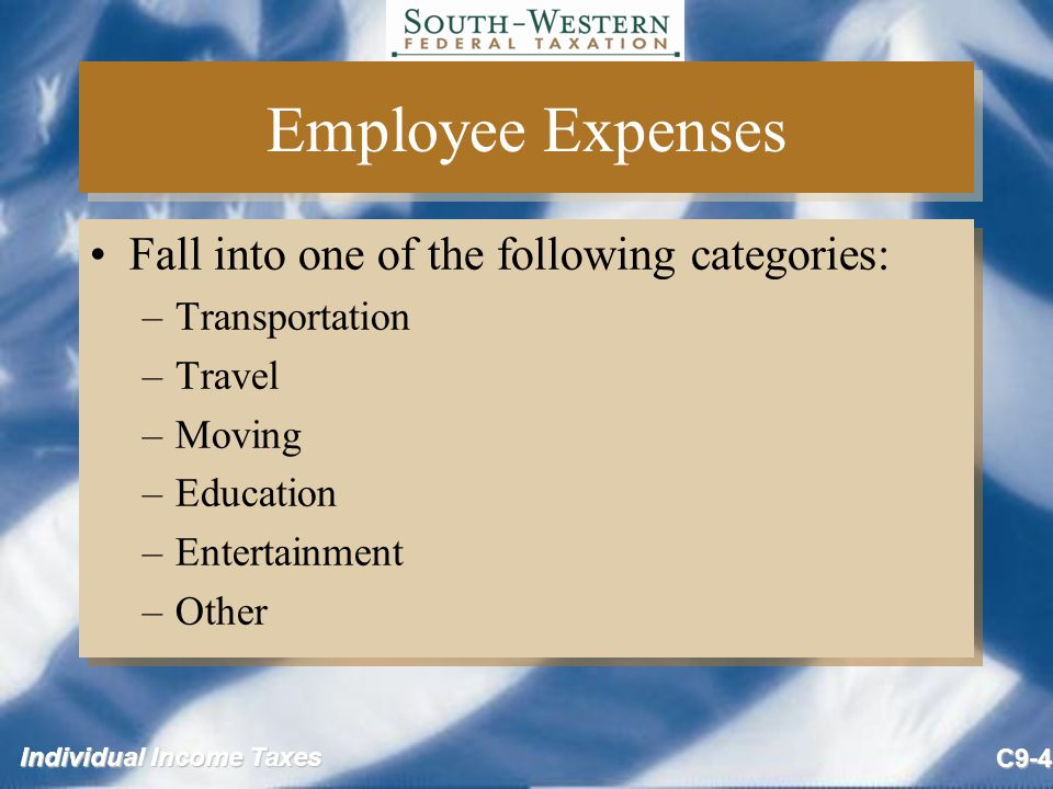 Employee Expenses Fall into one of the following categories: