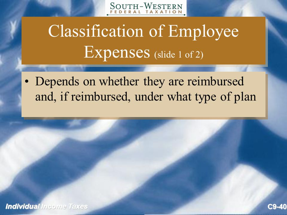 Classification of Employee Expenses (slide 1 of 2)