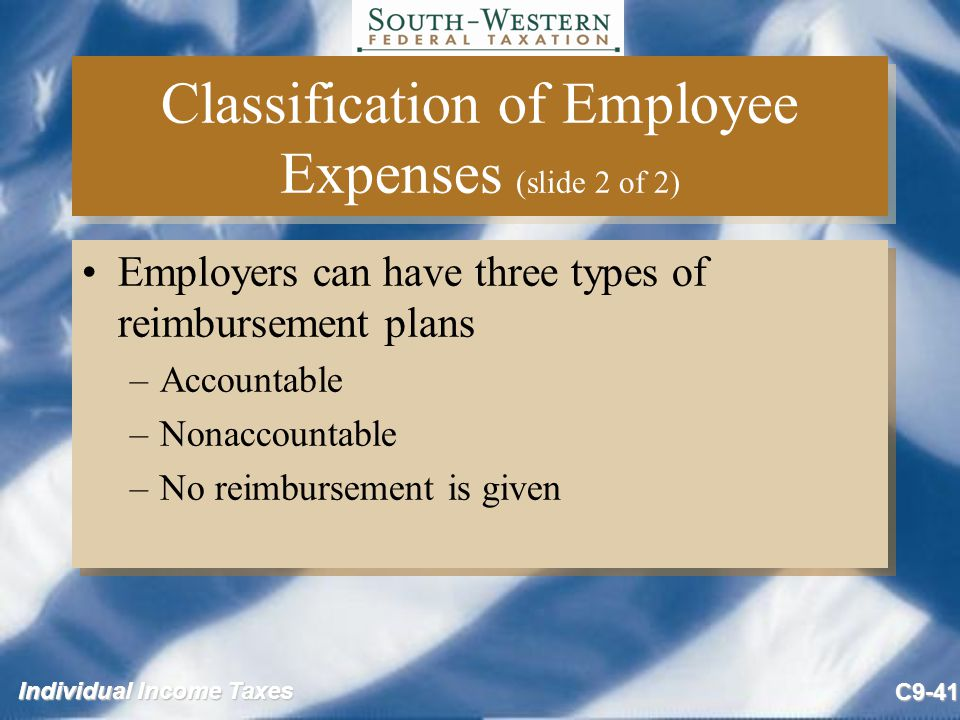 Classification of Employee Expenses (slide 2 of 2)