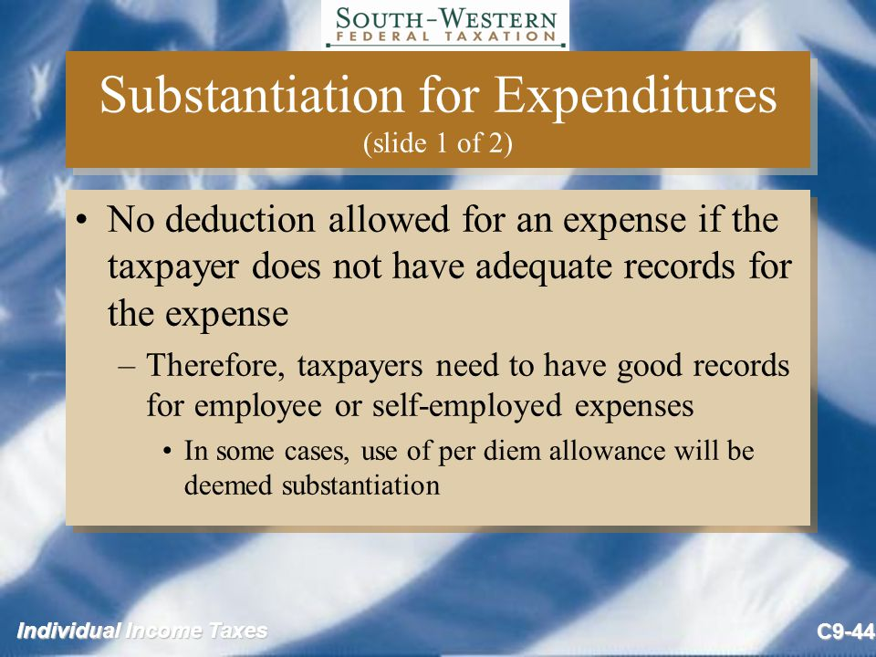 Substantiation for Expenditures (slide 1 of 2)