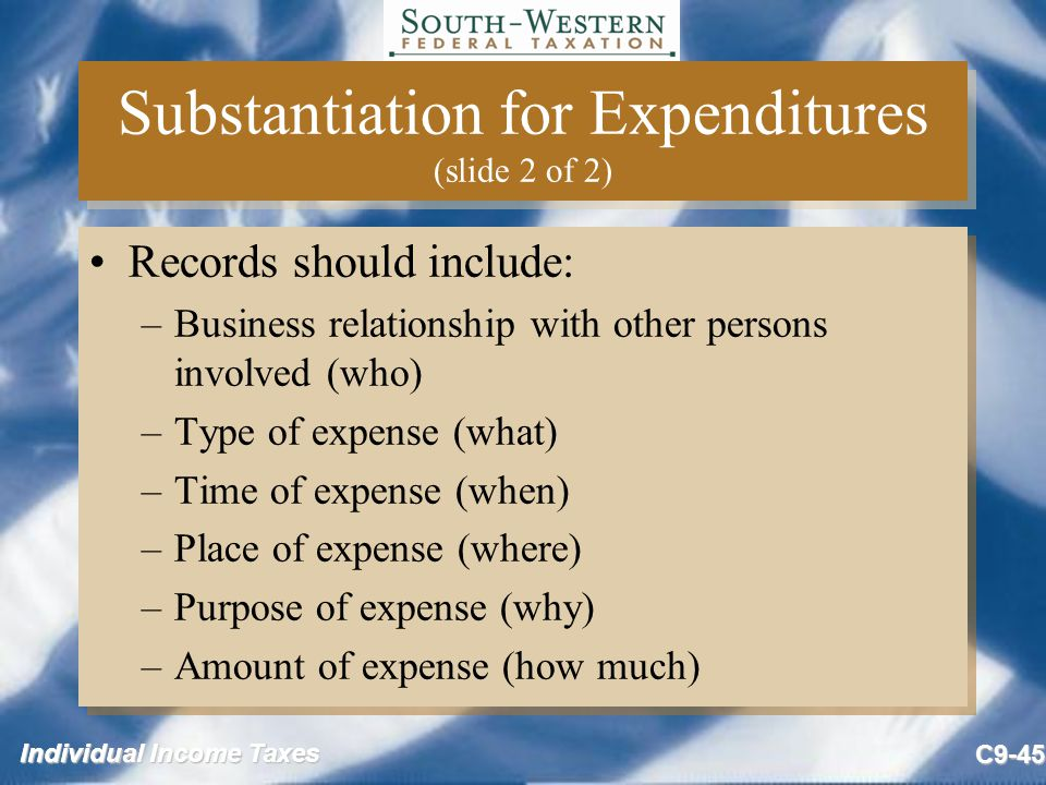 Substantiation for Expenditures (slide 2 of 2)
