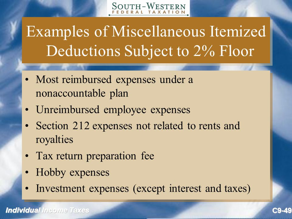 Examples of Miscellaneous Itemized Deductions Subject to 2% Floor