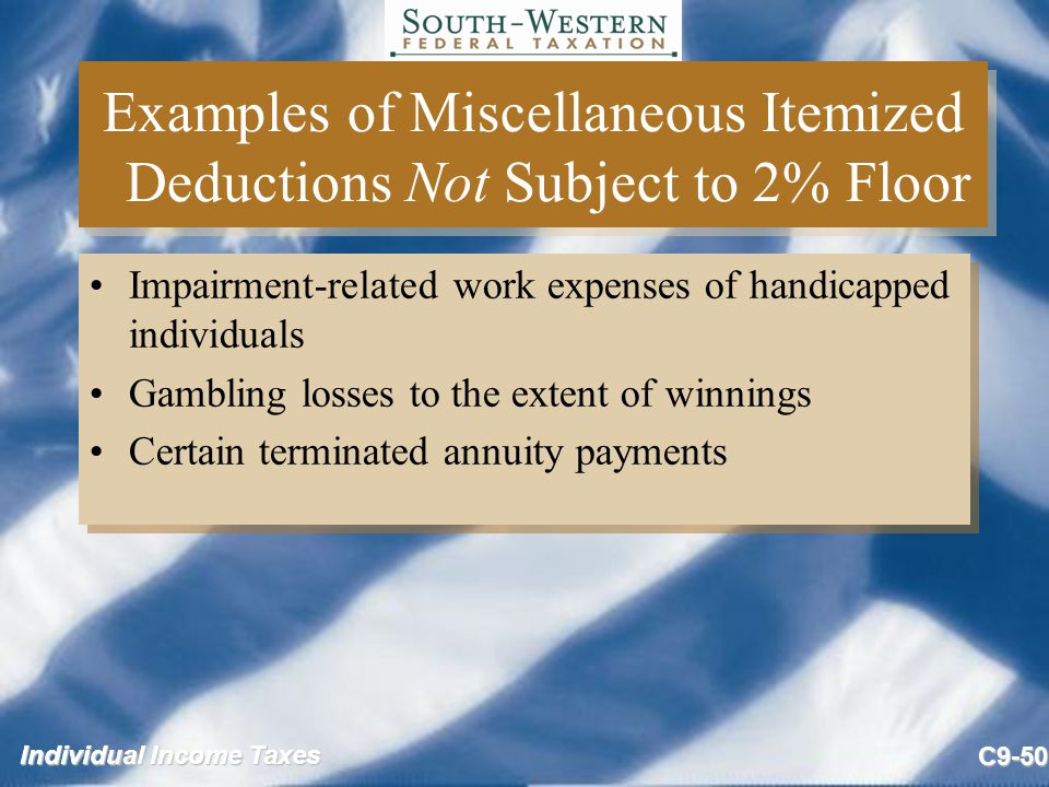 Examples of Miscellaneous Itemized Deductions Not Subject to 2% Floor