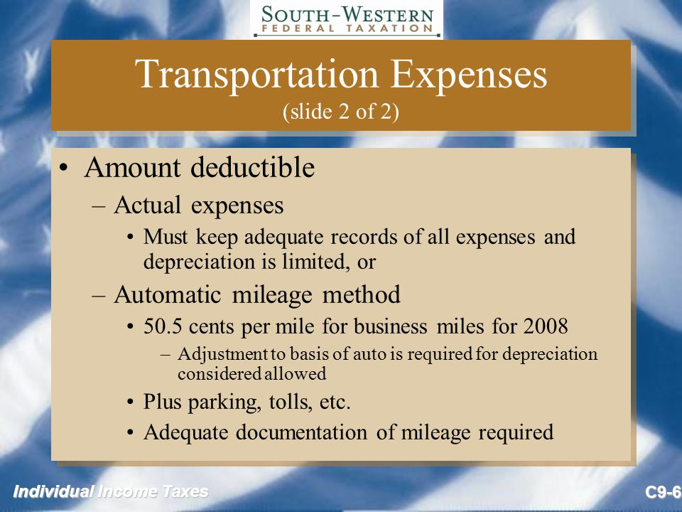 Transportation Expenses (slide 2 of 2)