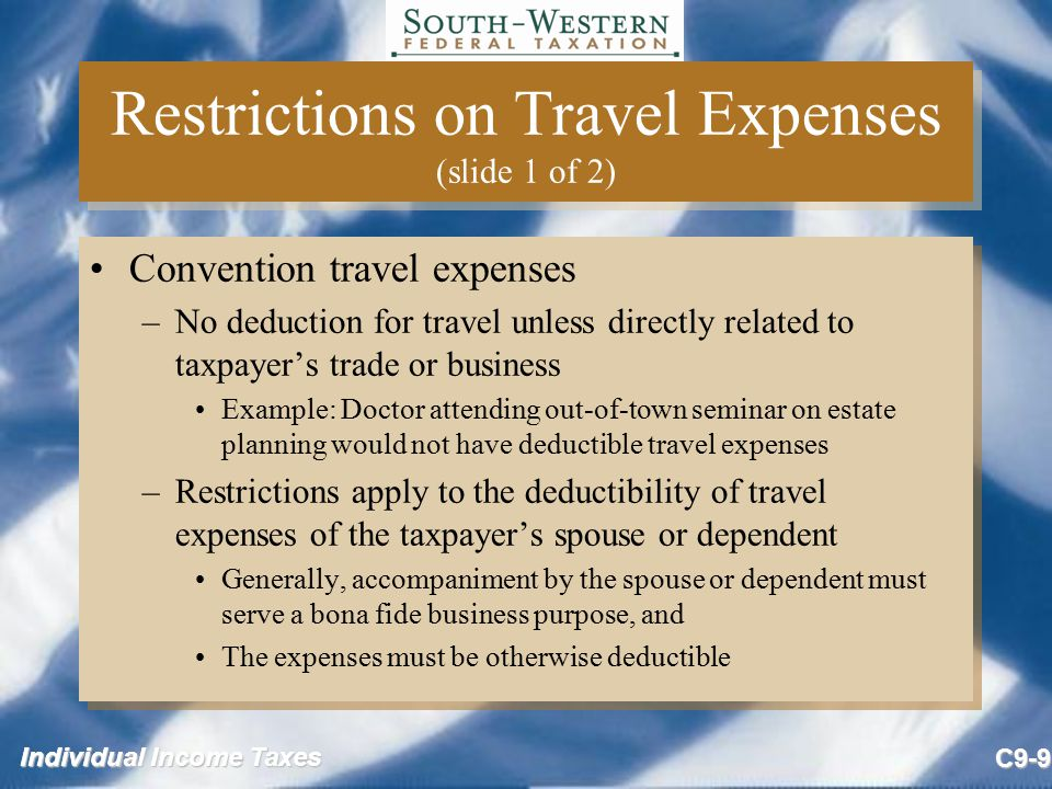 Restrictions on Travel Expenses (slide 1 of 2)