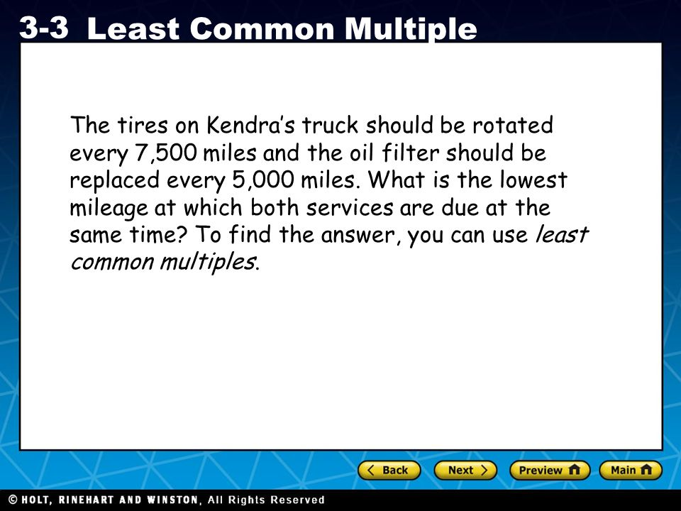 The tires on Kendra's truck should be rotated every 7,500 miles and the oil filter should be replaced every 5,000 miles.