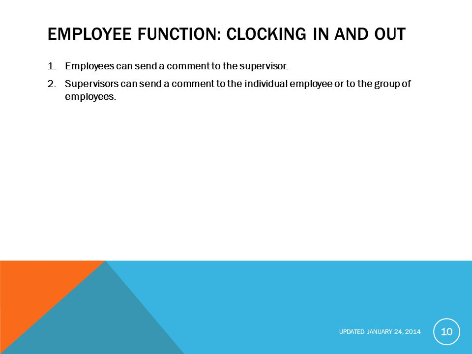 Employee function: Clocking In and Out