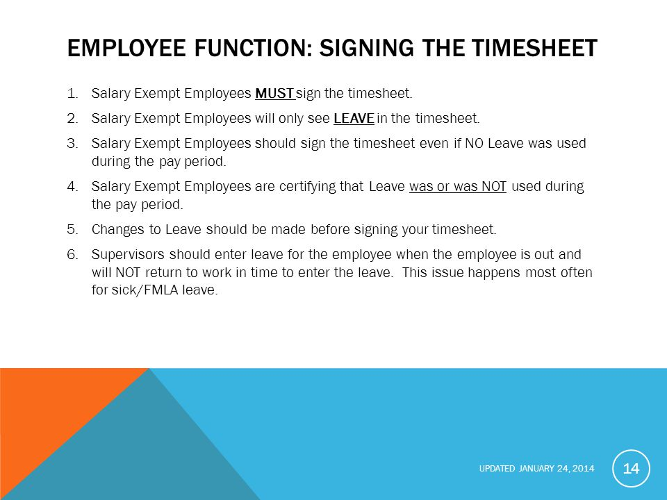 Employee function: Signing the Timesheet