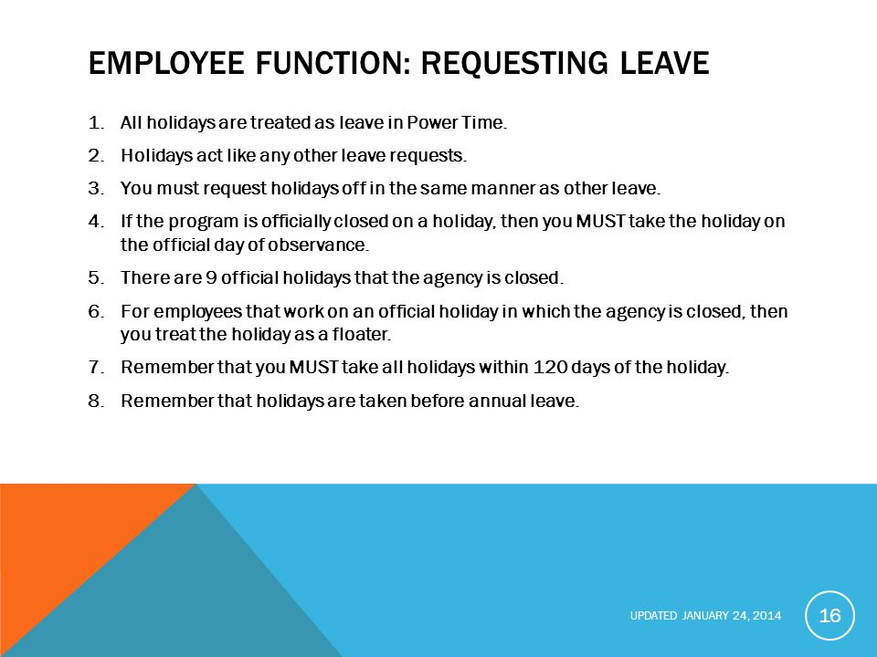Employee function: Requesting Leave