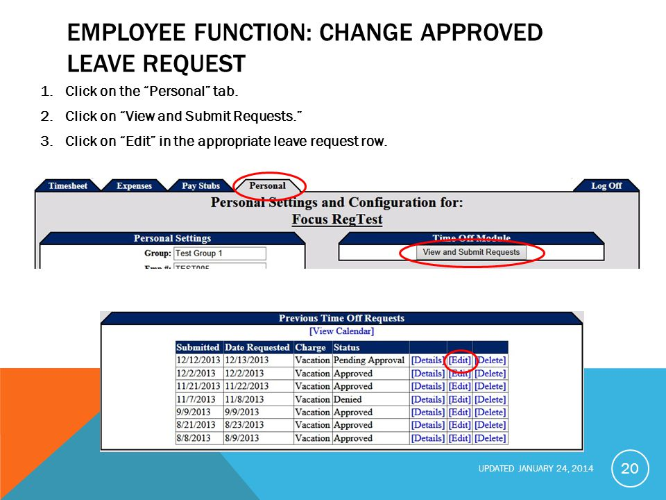 Employee function: Change Approved Leave Request