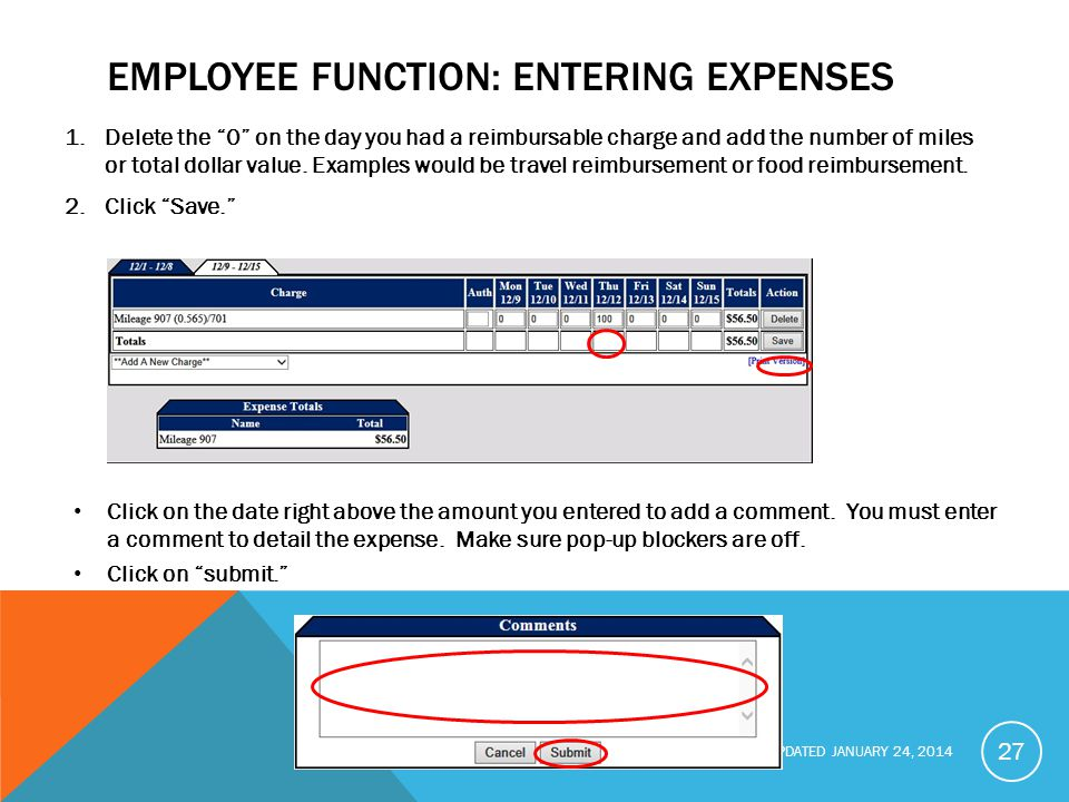 Employee function: Entering Expenses