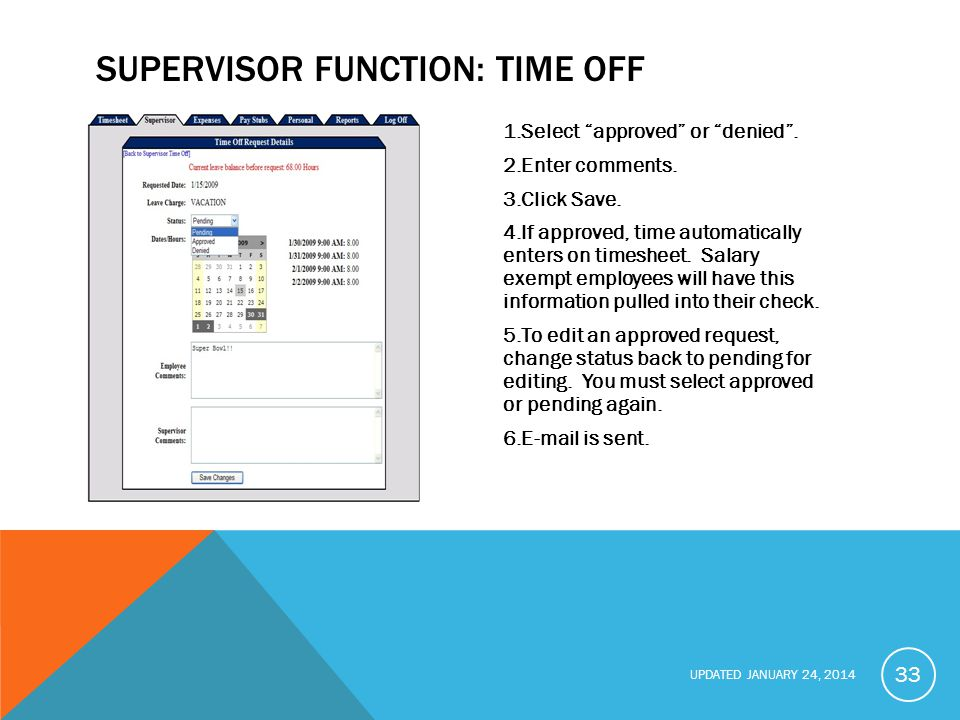 SUPERVISOR FUNCTION: Time Off