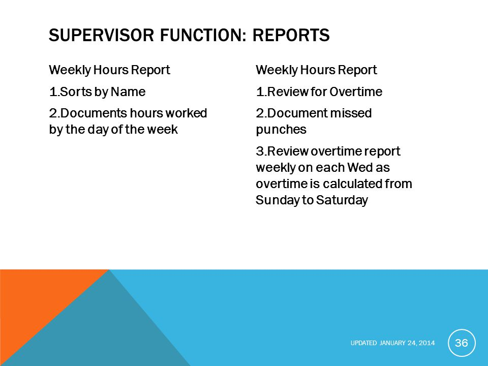 SUPERVISOR FUNCTION: reports