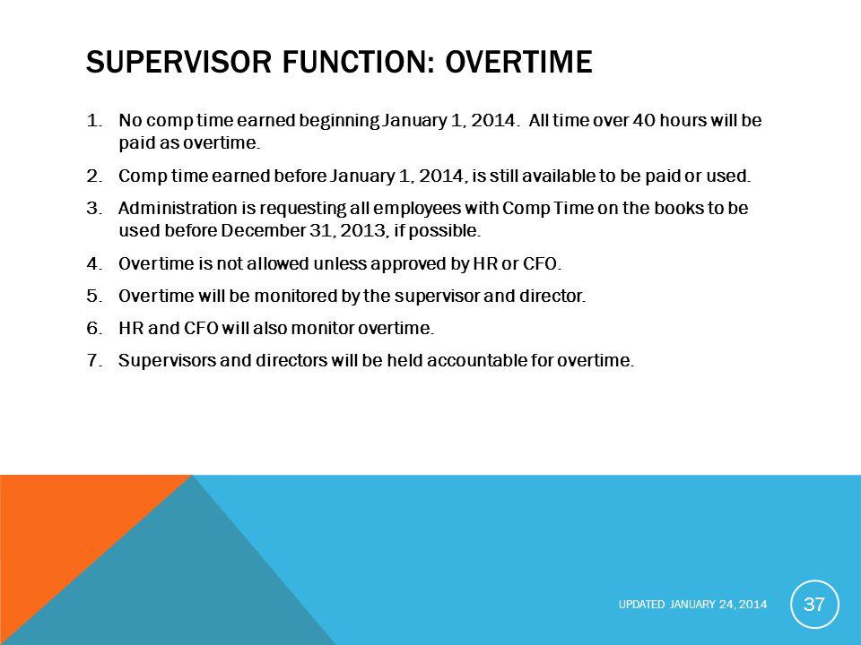 Supervisor function: overtime