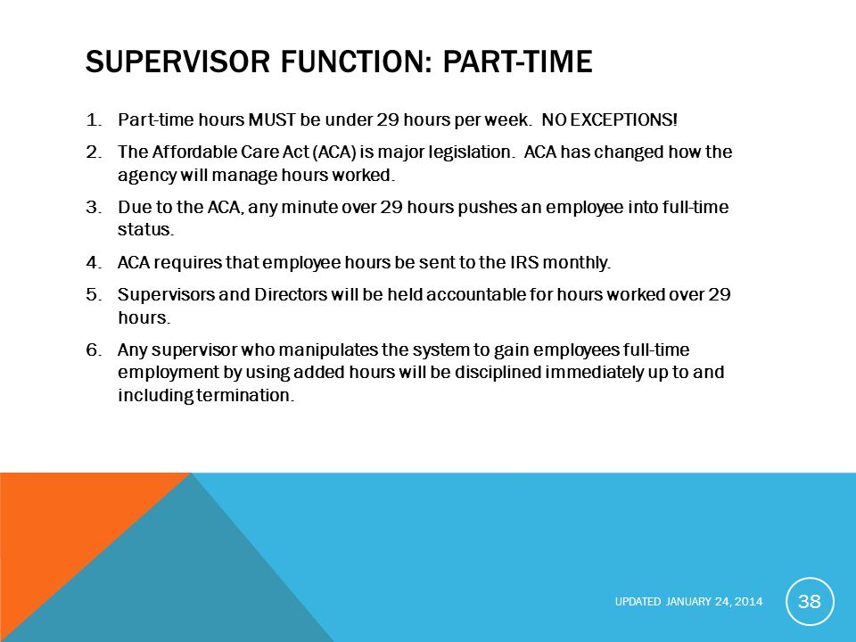 Supervisor function: part-time