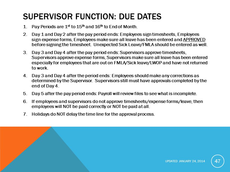 Supervisor function: Due Dates