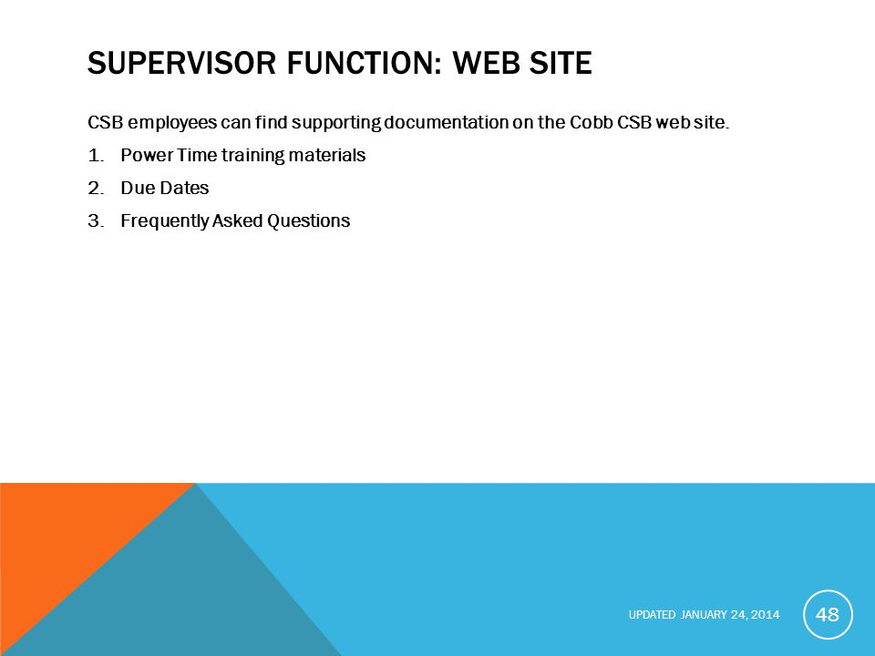Supervisor function: Web Site