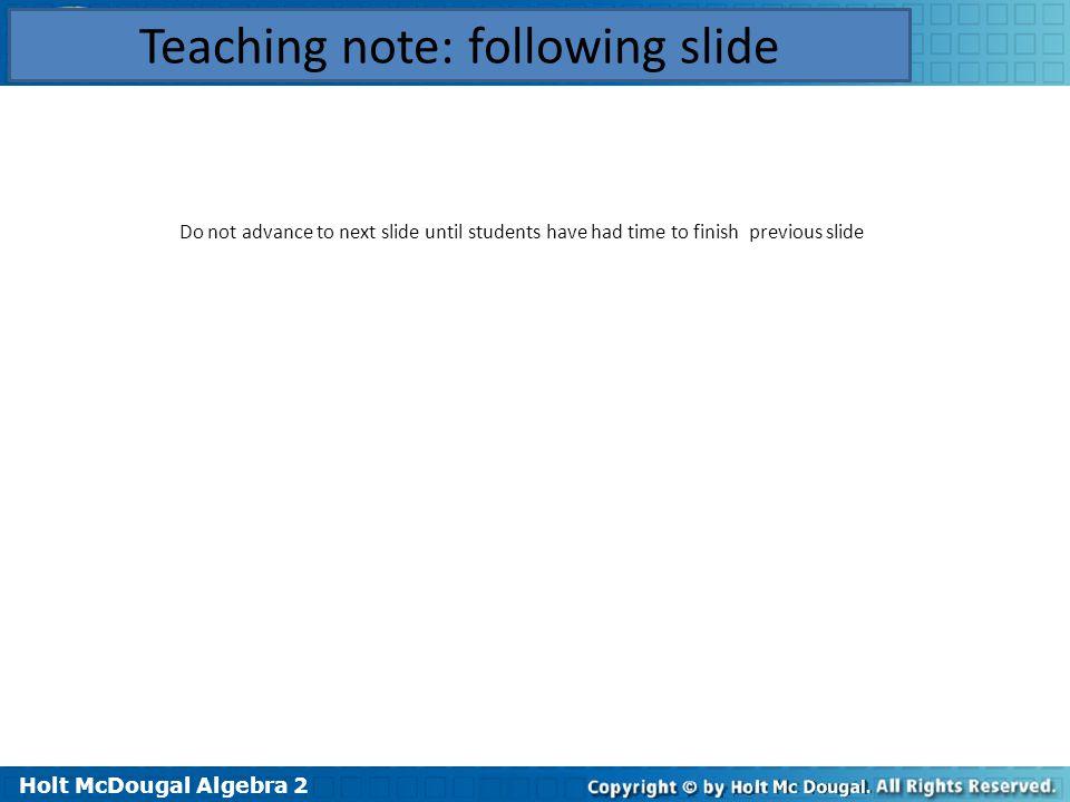 Teaching note: following slide