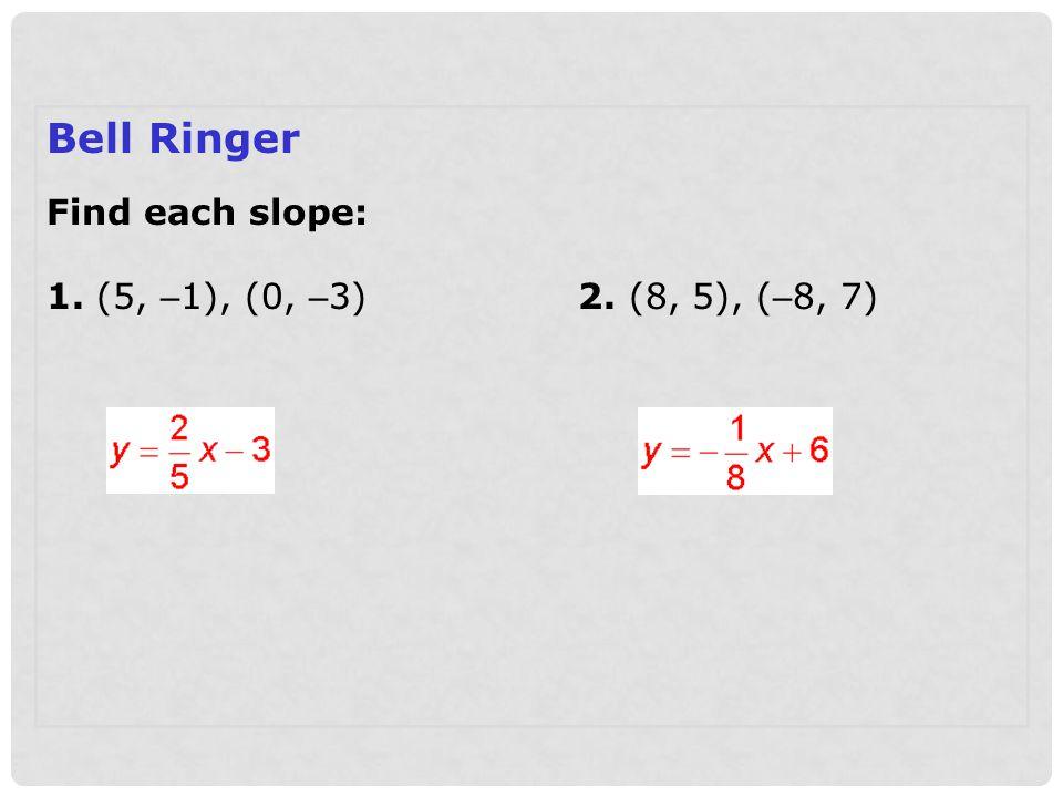 Bell Ringer Find each slope: 1. (5, –1), (0, –3) 2. (8, 5), (–8, 7)
