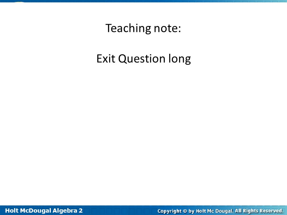 Teaching note: Exit Question long