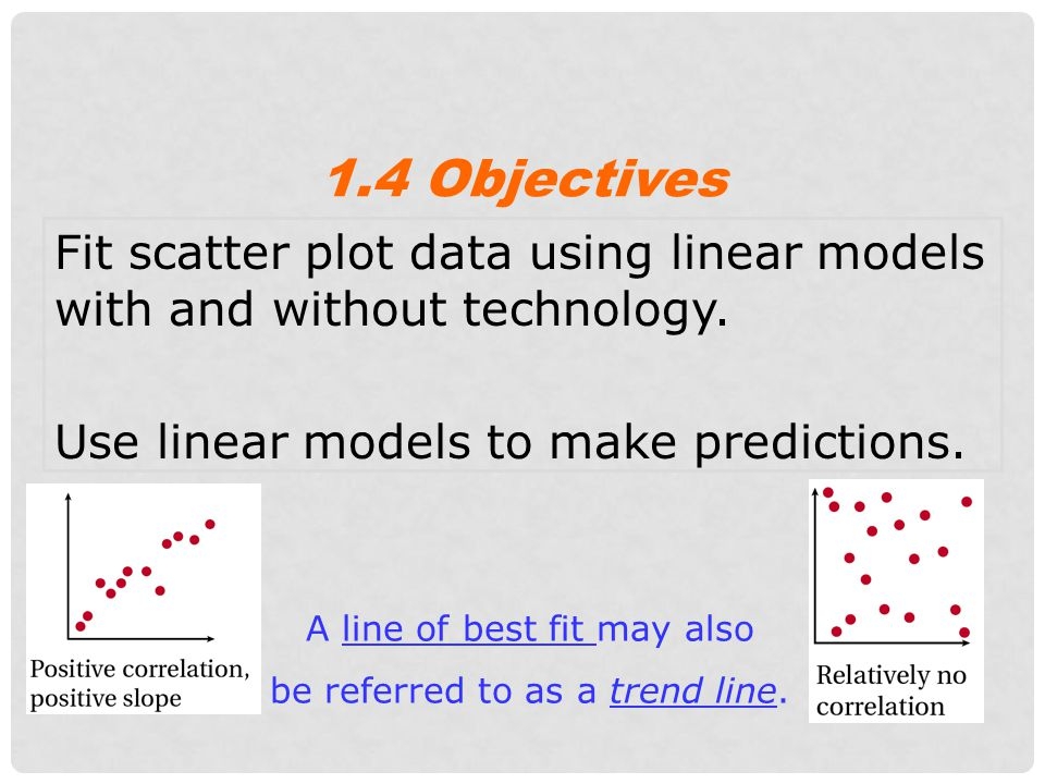 1.4 Objectives Fit scatter plot data using linear models with and without technology. Use linear models to make predictions.