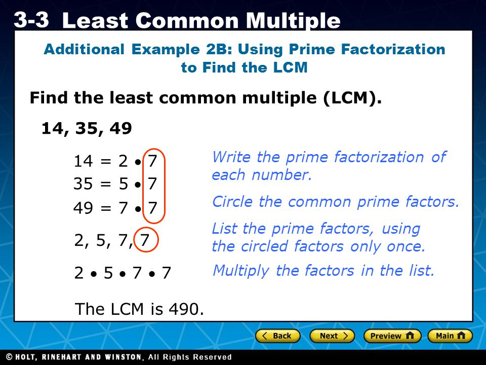 Additional Example 2B: Using Prime Factorization to Find the LCM