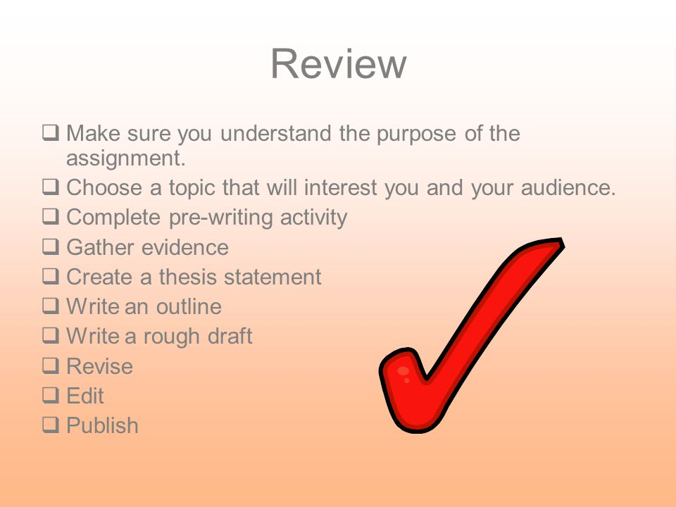 Review Make sure you understand the purpose of the assignment.