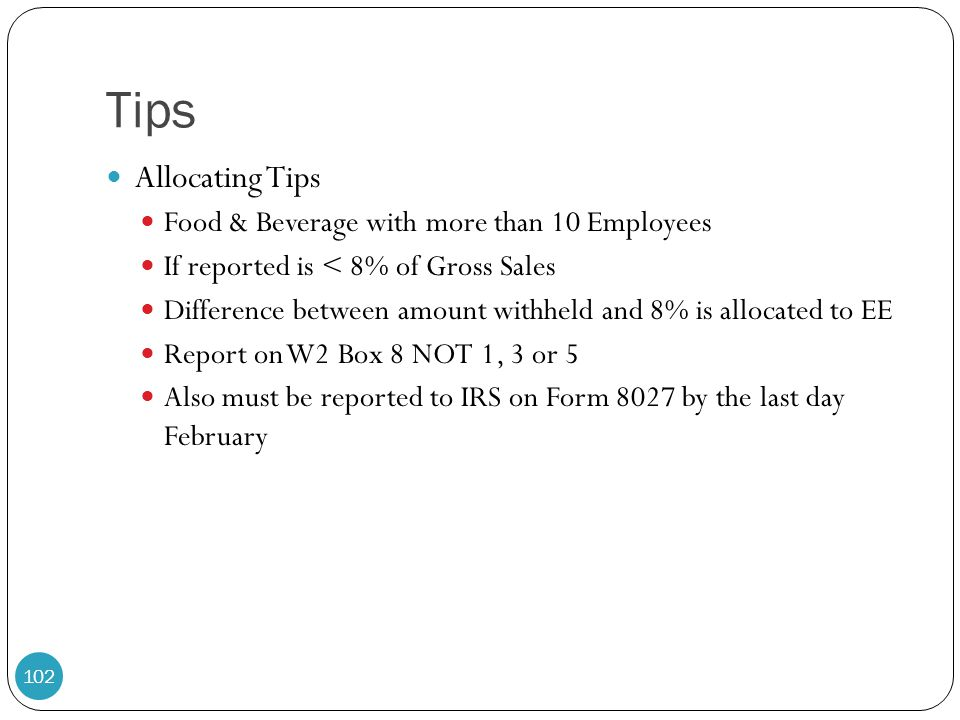 Tips Allocating Tips Food & Beverage with more than 10 Employees