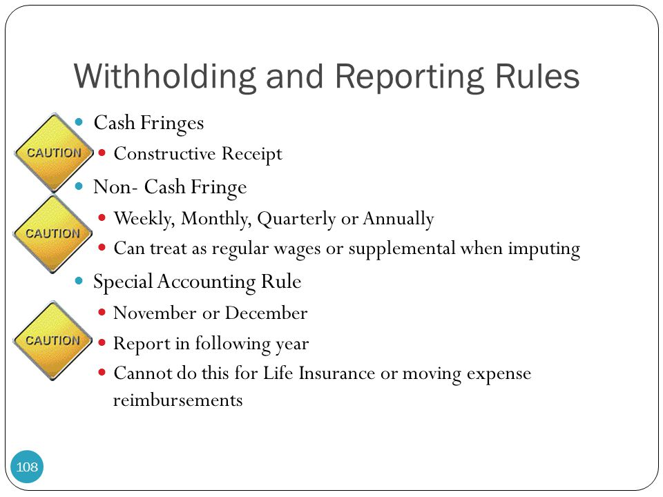 Withholding and Reporting Rules