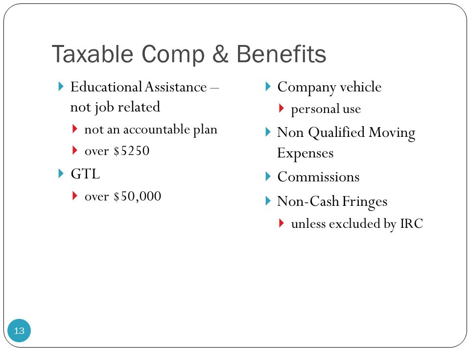 Taxable Comp & Benefits