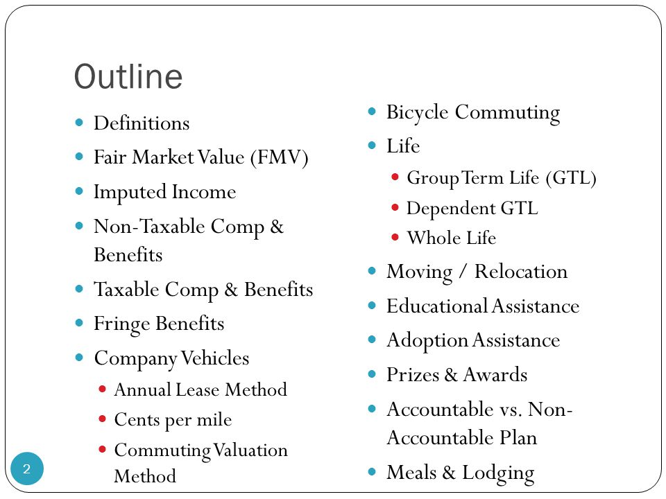 Outline Bicycle Commuting Definitions Life Fair Market Value (FMV)