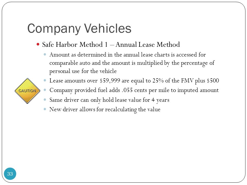 Company Vehicles Safe Harbor Method 1 – Annual Lease Method