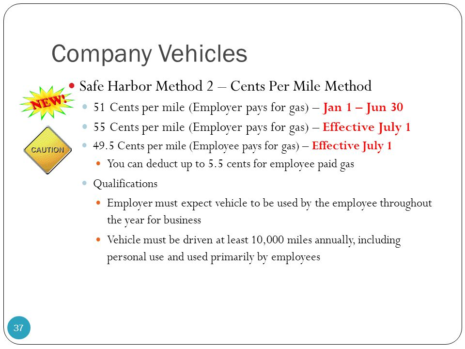 Company Vehicles Safe Harbor Method 2 – Cents Per Mile Method