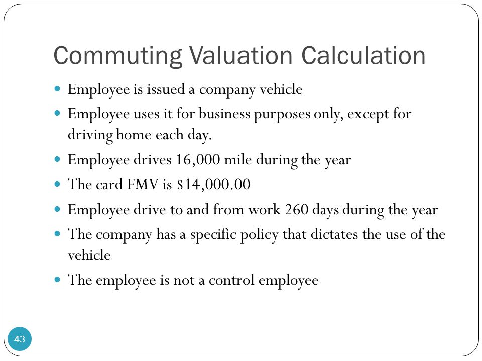 Commuting Valuation Calculation