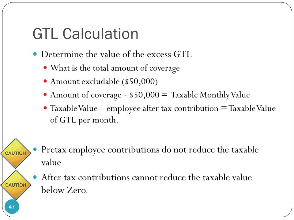 GTL Calculation Determine the value of the excess GTL