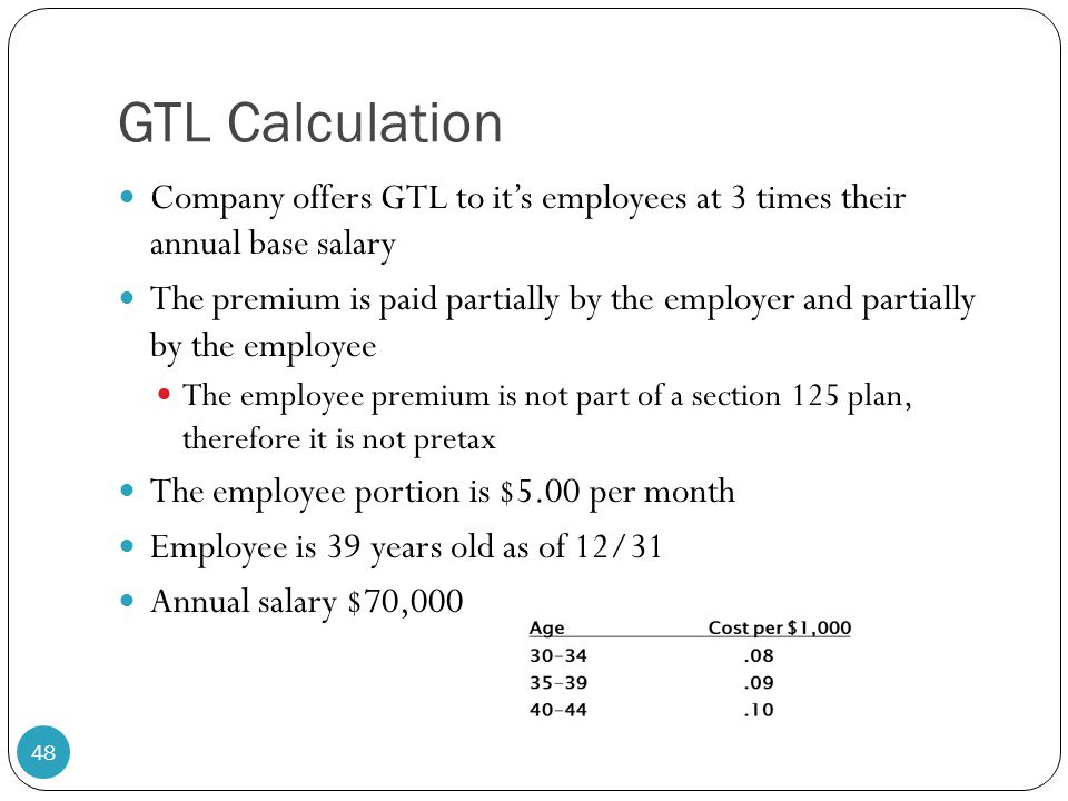 GTL Calculation Company offers GTL to it's employees at 3 times their annual base salary.
